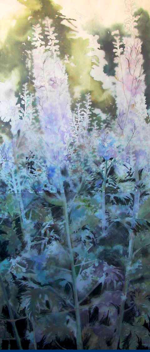 Large Delphiniums Diptych Contrast