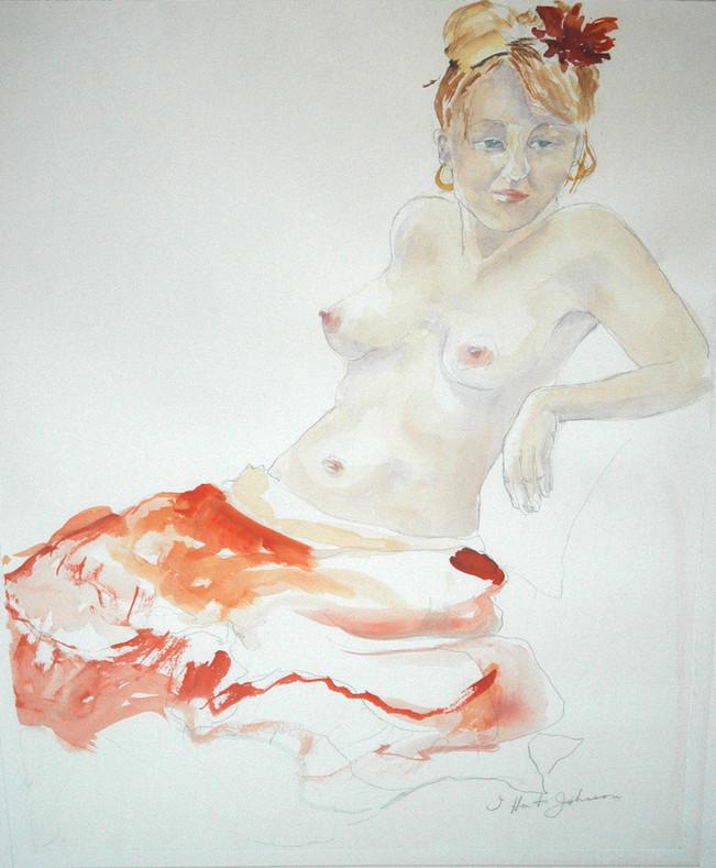 "Woman in Orange Skirt | 30"" x 22"""