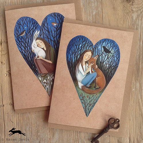 Fox and Hare. Heart Design Greeting Cards x2