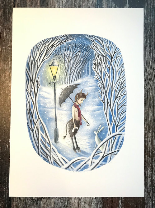 Tumnus Meets a Hare. Print A4/189gms
