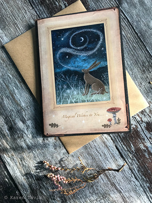 Magical Wishes to You. Hare Greeting Card x1