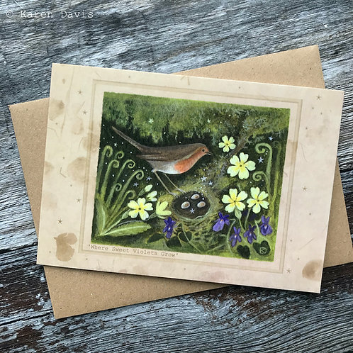 Spring Robin. Greeting Card x1