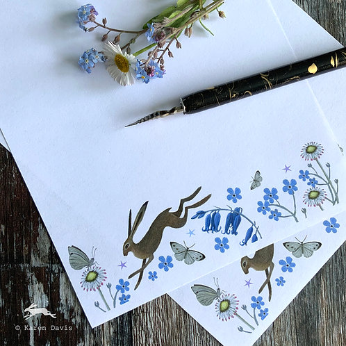 Writing Paper Design 'DIGITAL DOWNLOAD' PDF File. Hare and Flowers
