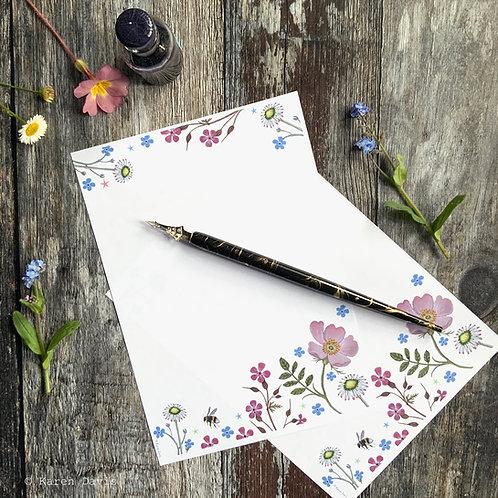 Writing Paper Design 'DIGITAL DOWNLOAD' PDF File. Floral Bee