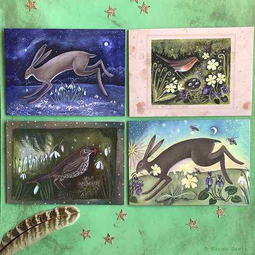 Birds and Hares. Spring Greeting Cards x4