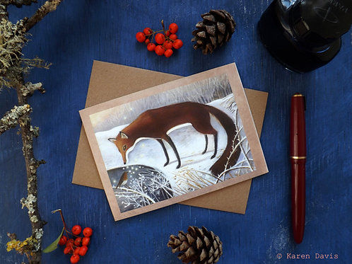 Winter Fox and Robin. Greeting Card x1