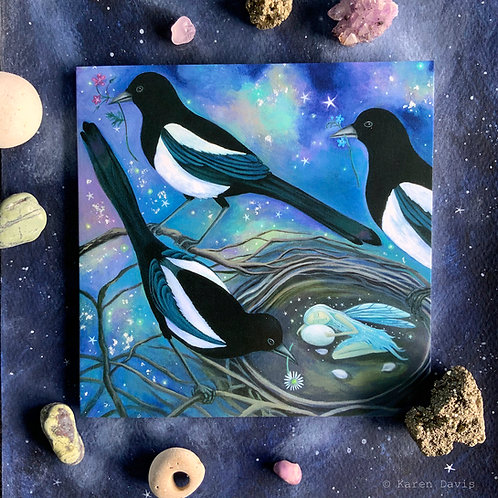 Magi. Magpie/Fairy Greeting Card x1