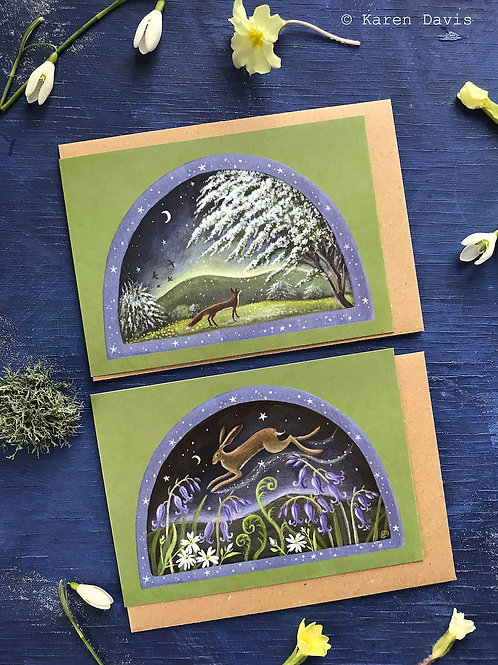 Hare and Fox. Spring Greeting Cards x2