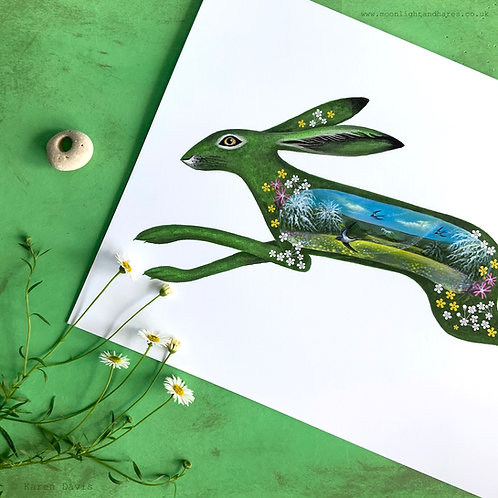 Green Witch Hedgerow Hare. Swallows.  Art Print. A4/189gms