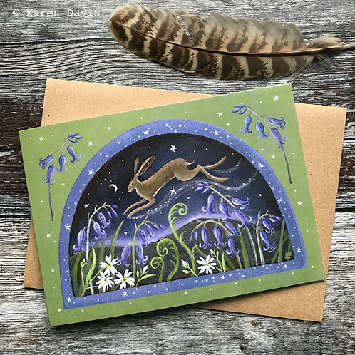 Bluebell Hare. Greeting Card x1
