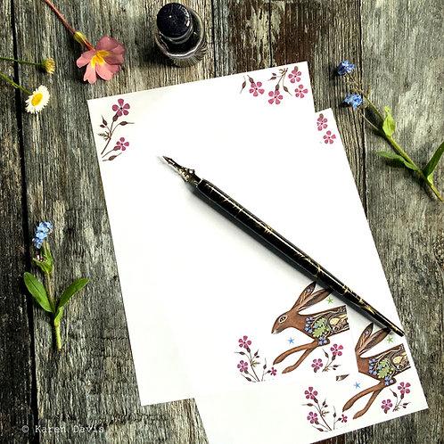 Writing Paper Design 'DIGITAL DOWNLOAD' PDF File. Hare