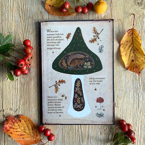 Squirrel/Toadstool Greeting Card x1