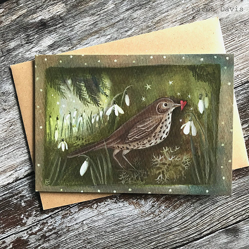 Song Thrush. Snowdrops and Heart. Greeting Card x1