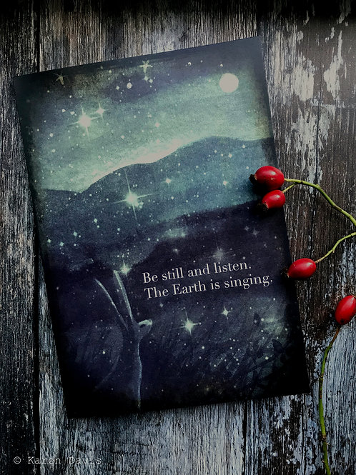 A5 Notebook. Be Still and Listen the Earth is Singing