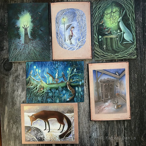 Winter Cards x 6. Mixed Pack