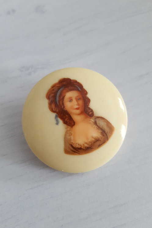 Vintage Lady Button Brooch