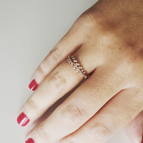 Leaf & Diamanté Ring - Far Fetched Accessories