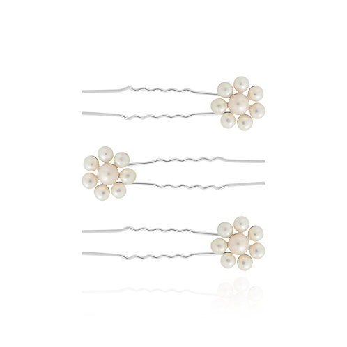 Happy Ever After Pearl Flower hair pins