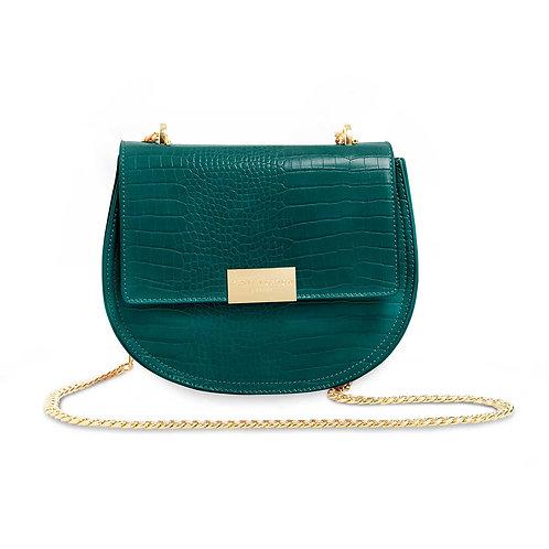 Celine Faux Croc Saddle Bag