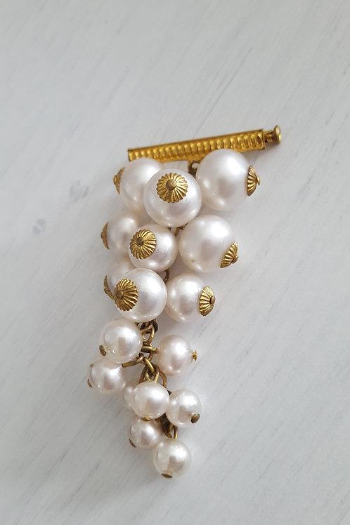 White Pearl Drop Vintage Brooch