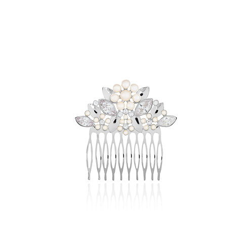 Happy Ever After Pearl Flower & Crystal comb