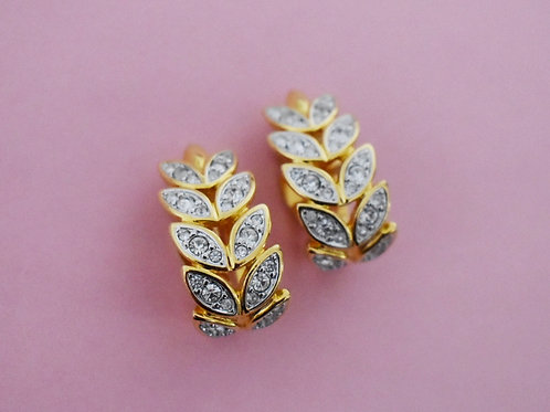 Crystal Leaf clip on earrings