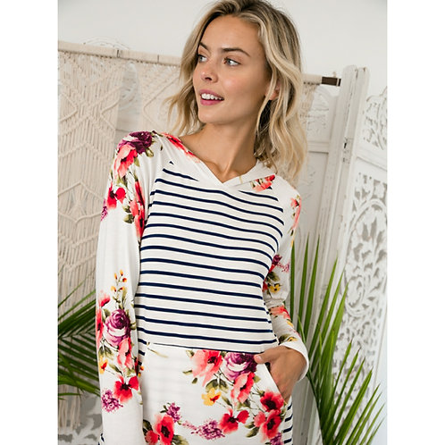 Hooded Floral Stripe