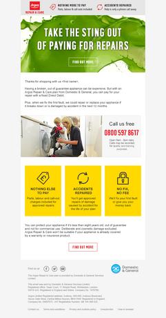 Argos: Repair & Care Email