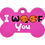 "Thumbnail: Dog Couple + "" I WOOF You "" slogan Bone Pink"