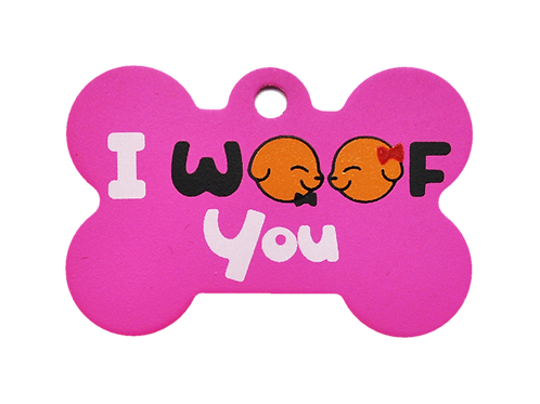 "Dog Couple + "" I WOOF You "" slogan Bone Pink"