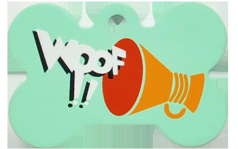 """Loudspeaker + """" WOOF!! """" slogan Bone Green"""