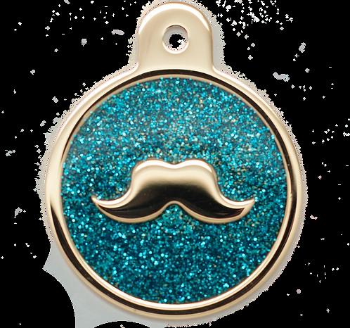 Mustache Glitter Enamel Circle P.BLUE