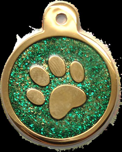 IP Gold Dark Green Glita Circle Paw