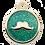 Thumbnail: Mustache Glitter Enamel Circle TURQ