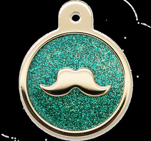 Mustache Glitter Enamel Circle TURQ