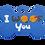 """Thumbnail: Dog Couple + """" I WOOF You """" slogan Bone Blue"""