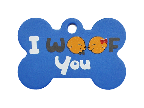 """Dog Couple + """" I WOOF You """" slogan Bone Blue"""