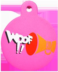 "Loudspeaker + "" WOOF!! "" slogan Circle Pink"