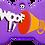 "Thumbnail: Loudspeaker + "" WOOF!! "" slogan Bone Purple"