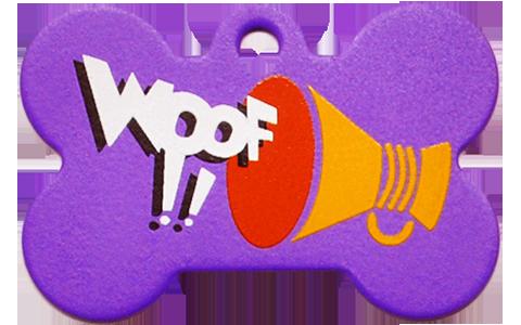 """Loudspeaker + """" WOOF!! """" slogan Bone Purple"""