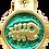Thumbnail: IP Gold Dark Green Glita Circle Fish (S)