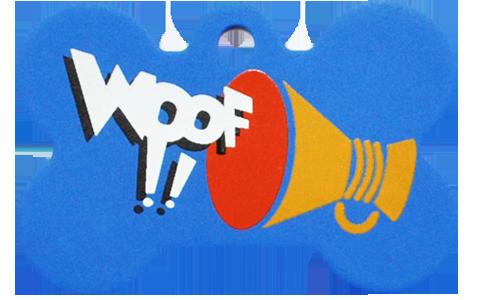 """Loudspeaker + """" WOOF!! """" slogan Bone Blue"""