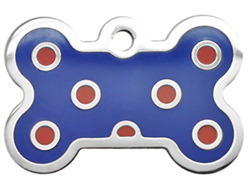 Polka Dots Grind Enamel Bone Blue & Red