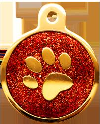 IP Gold Red Glita Circle Paw (L)