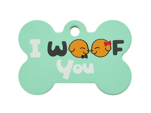 "Dog Couple + "" I WOOF You "" slogan Bone Green"
