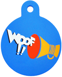 """Loudspeaker + """" WOOF!! """" slogan Circle Blue"""