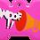 "Thumbnail: Loudspeaker + "" WOOF!! "" slogan Bone Pink"