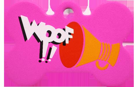 """Loudspeaker + """" WOOF!! """" slogan Bone Pink"""