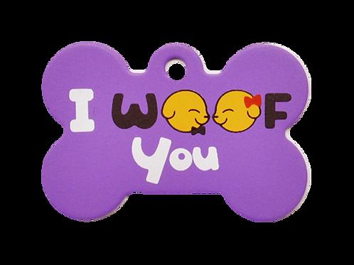 """Dog Couple + """" I WOOF You """" slogan Bone Purple"""