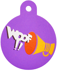 "Loudspeaker + "" WOOF!! "" slogan Circle Purple"